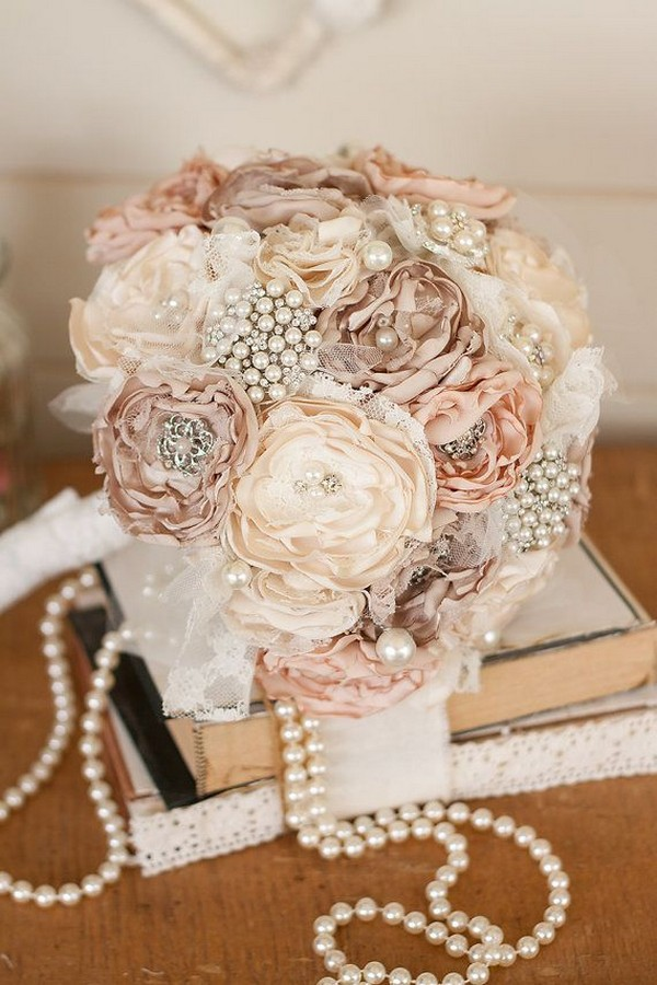Vintage Inspired Cream and Ivory Satin and Lace Bridal Brooch Bouquet