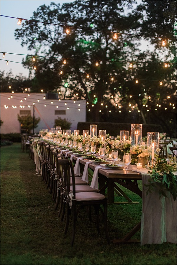 backyard wedding ideas with edison bulb string lights