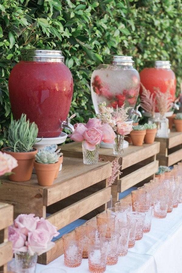 garden themed wedding drink station ideas