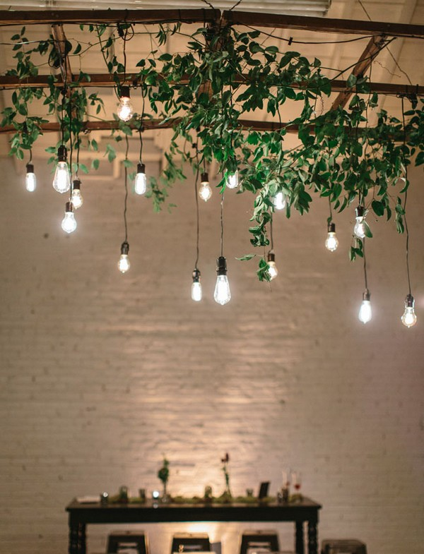 greenery and Edison bulbs wedding decoration ideas