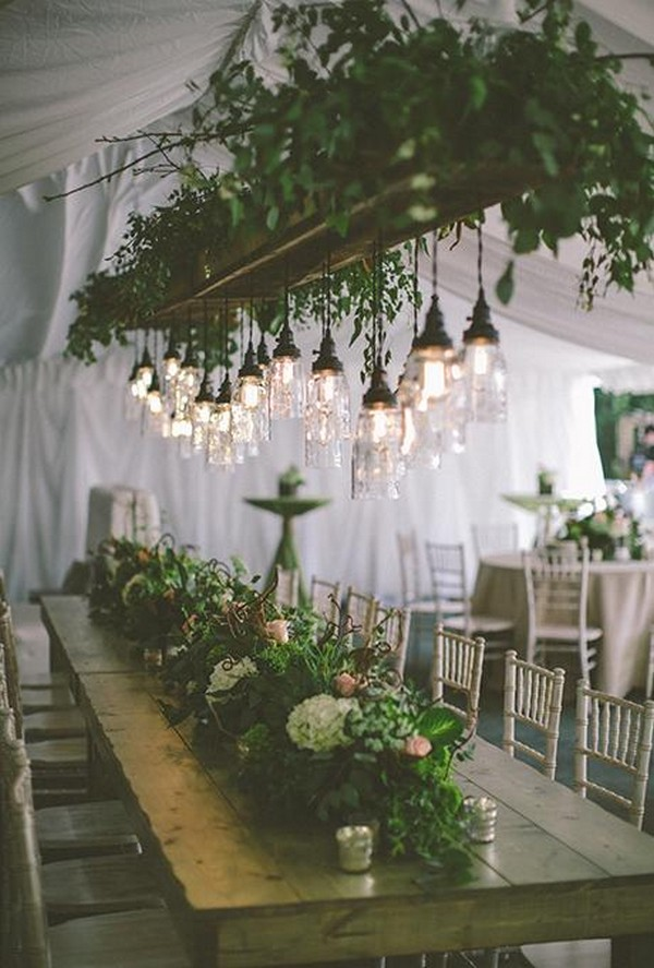 greenery wedding decoration ideas with Edison bulbs