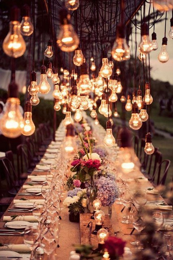 string lights wedding reception decoration ideas