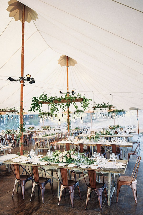 Tented Wedding Reception Ideas With Hanging Edison Bulbs