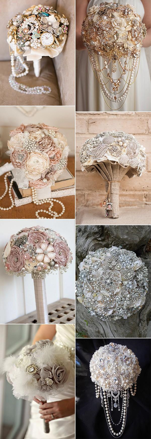vintage brooch wedding bouquet ideas for 2018