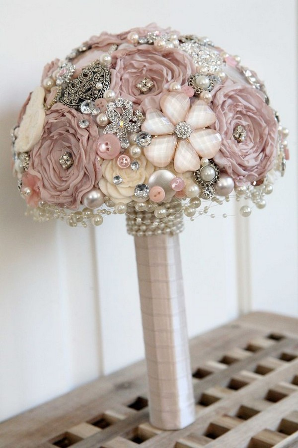 vintage dusty rose brooch wedding bouquet ideas for 2018