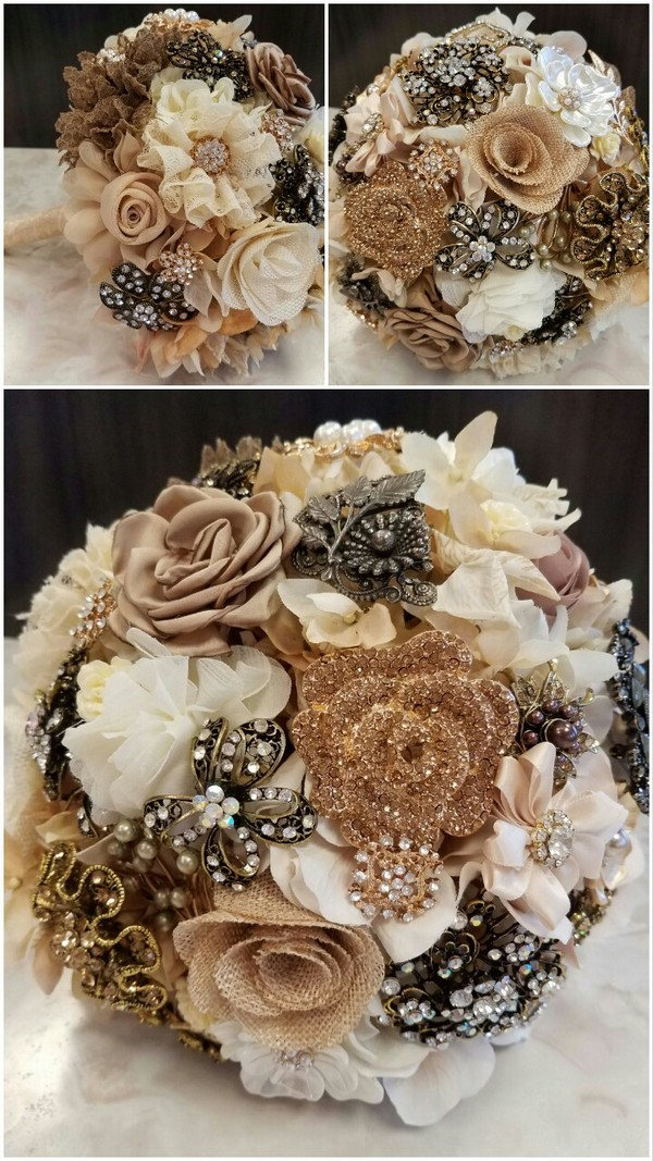 vintage sparkle wedding brooch bouquets with neutral colors