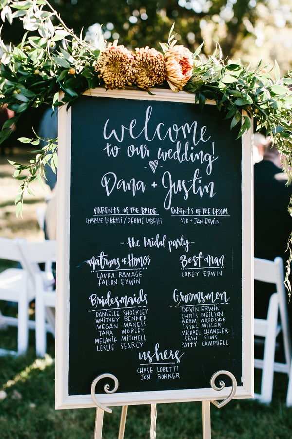 chalkboard wedding program sign ideas emmalovesweddings