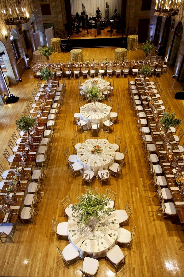 Rectangular and Circular wedding reception table layout