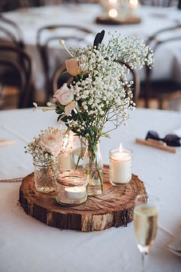 Chic Rustic Wedding Centerpiece With Babys Breath And Mason Jars