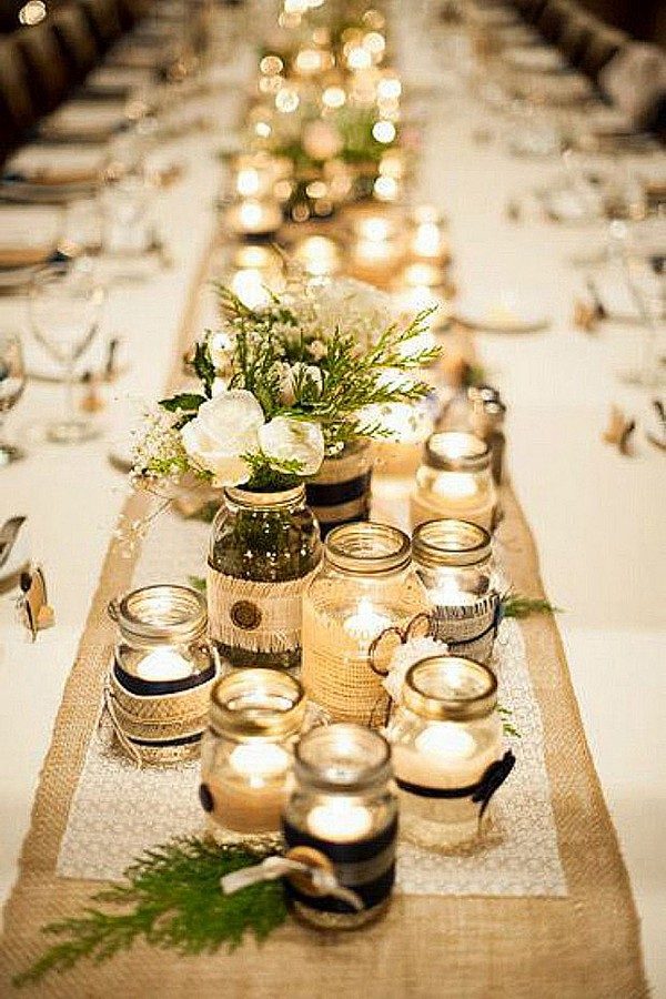 Country Rustic Wedding Centerpiece With Mason Jars And Candles