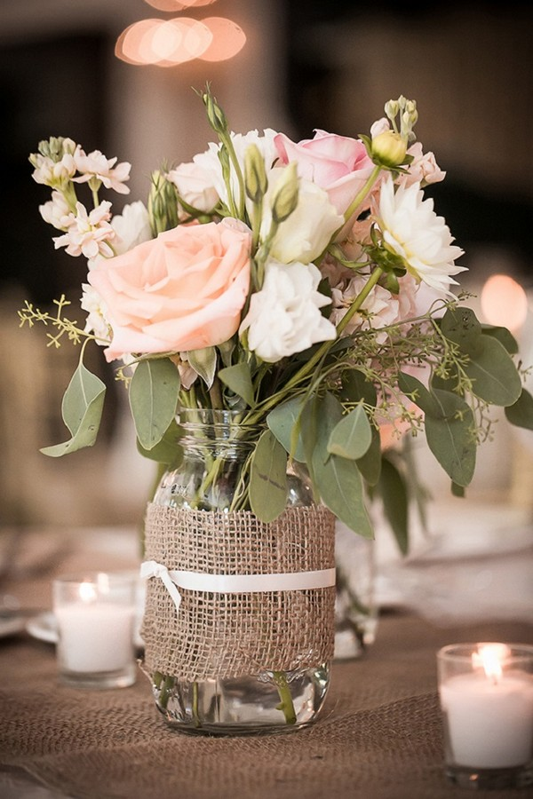 Country Wedding Centerpiece Ideas With Mason Jars And Burlap Emmalovesweddings