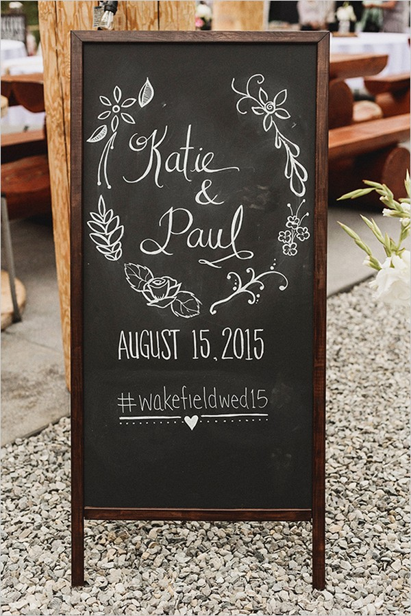 country wedding chalkboard sign ideas