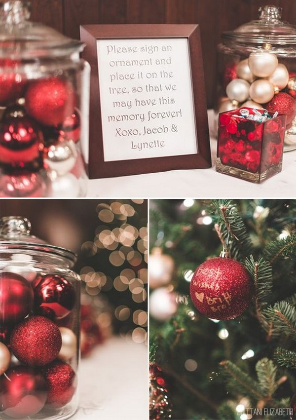 Creative Christmas Ornament Wedding Guest Book Ideas