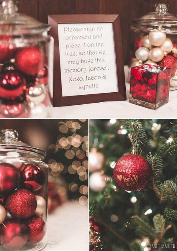 creative Christmas ornament wedding guest book ideas