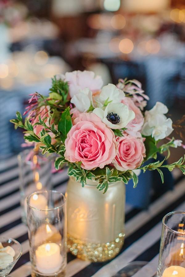 Glitter And Metallic Gold Mason Jar Wedding Centerpiece Ideas