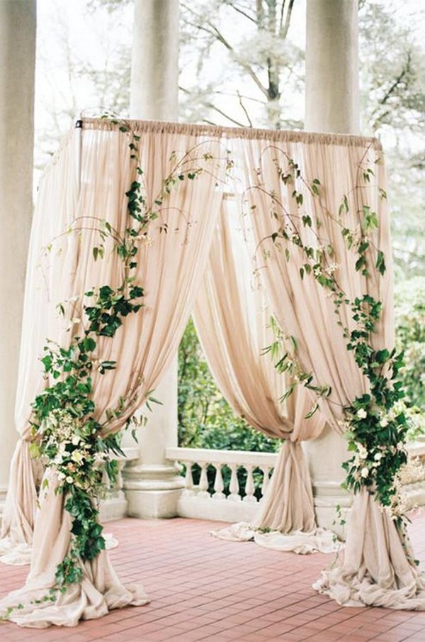 ivory and greenery wedding alter ideas