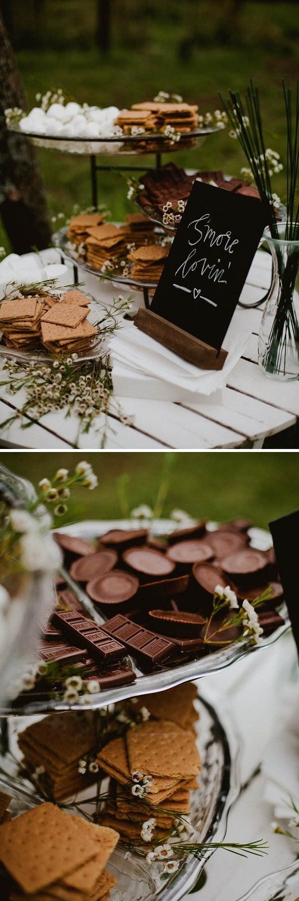outdoor s'more wedding dessert display ideas