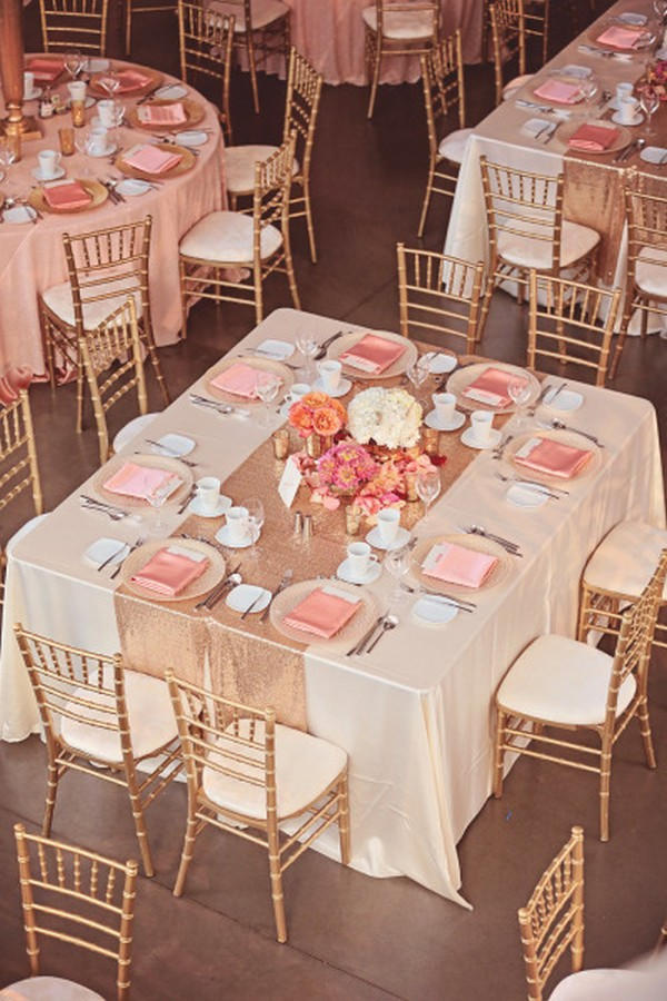 Pink And Rose Gold Wedding Reception Table Ideas