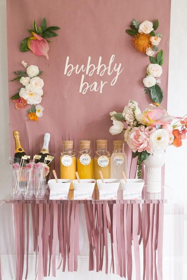 Pink Mimosa Bar Bridal Shower Ideas