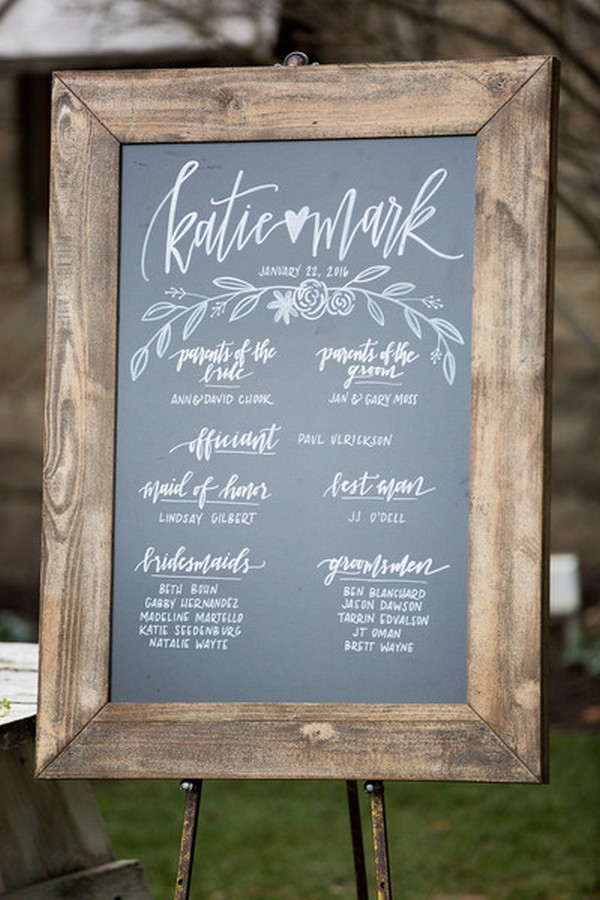rustic chic chalkboard wedding sign ideas