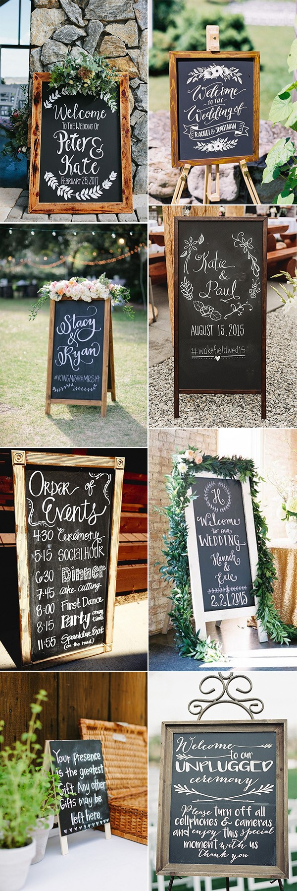 trending chalkboard wedding sign ideas