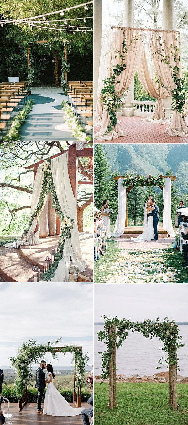 trending greenery wedding alter decoration ideas