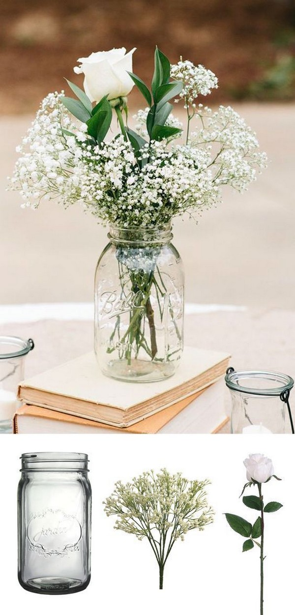 vintage mason jar wedding centerpieces with books and baby's breath