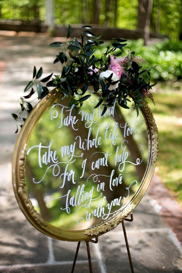 vintage mirror wedding sign ideas
