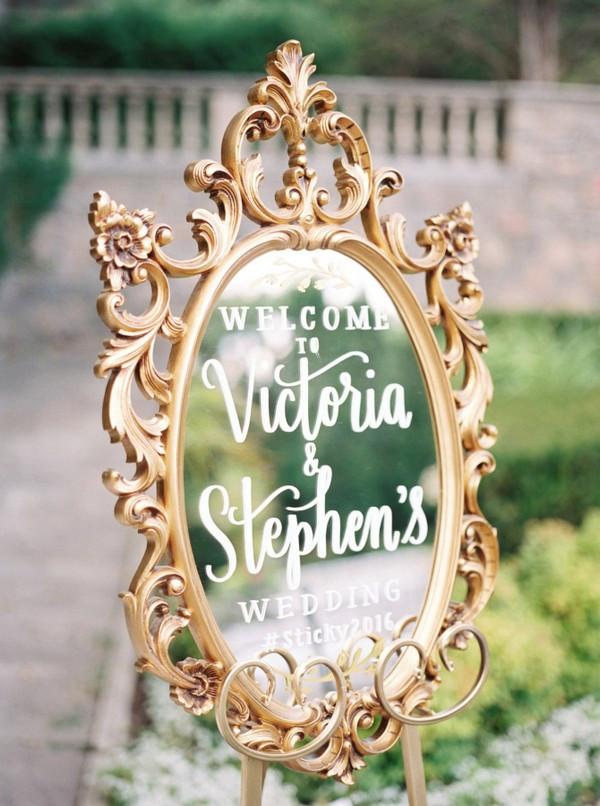 vintage mirror wedding sign with gold frame