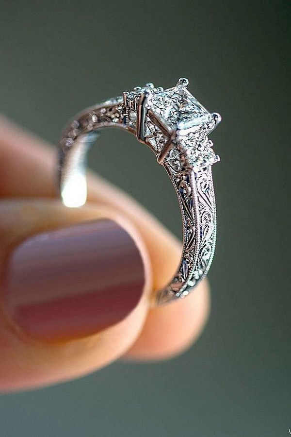 vintage princess cut wedding engagement ring for 2018