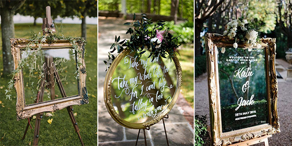 vintage wedding signs with mirror