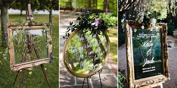 Vintage Wedding Signs With Mirror