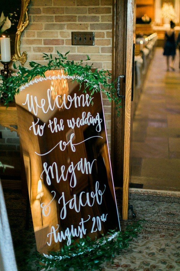 wedding welcome sign ideas with mirror and greenery