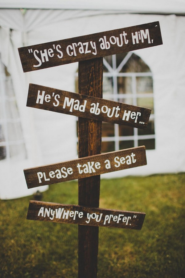 wooden wedding sign for boho wedding