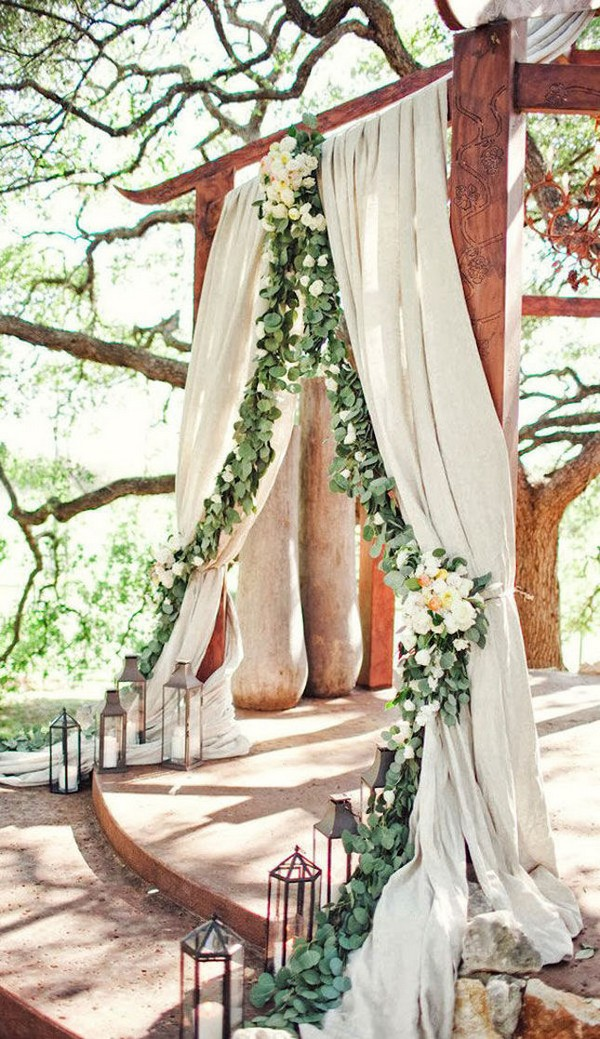 woodland and greenery boho wedding arch ideas