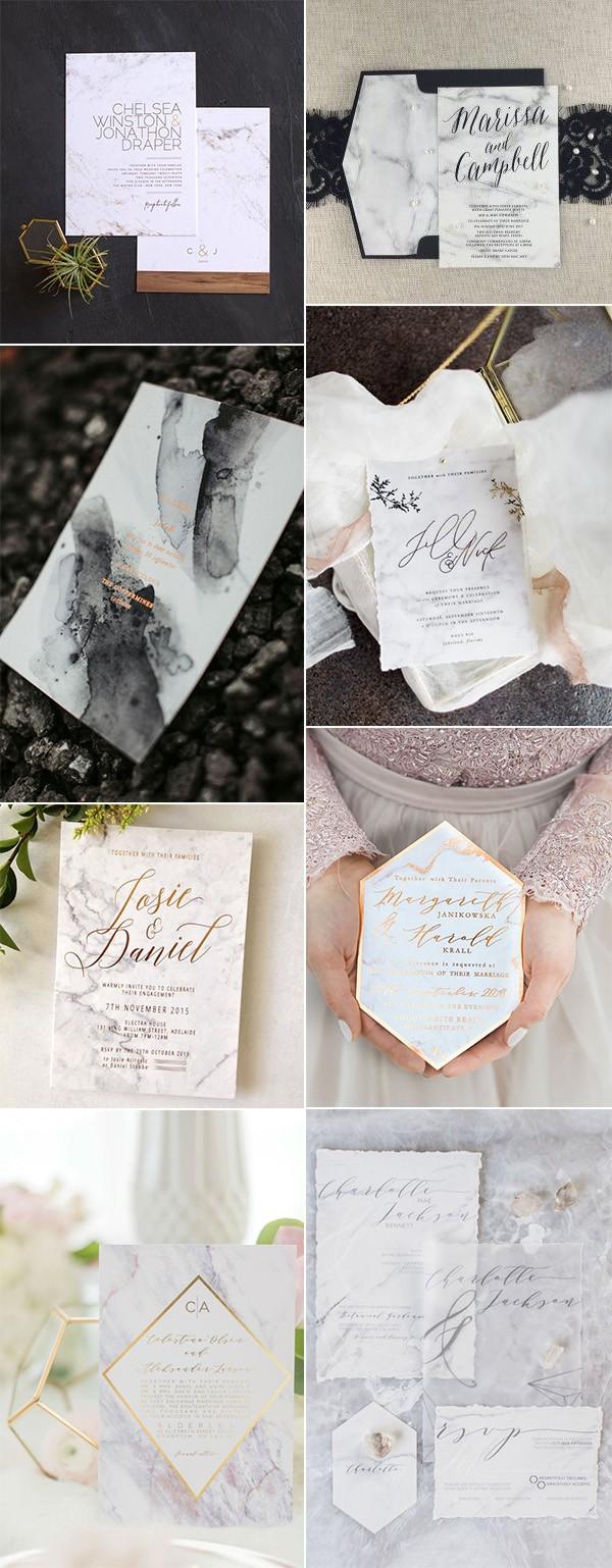2018 trending marble wedding invitations