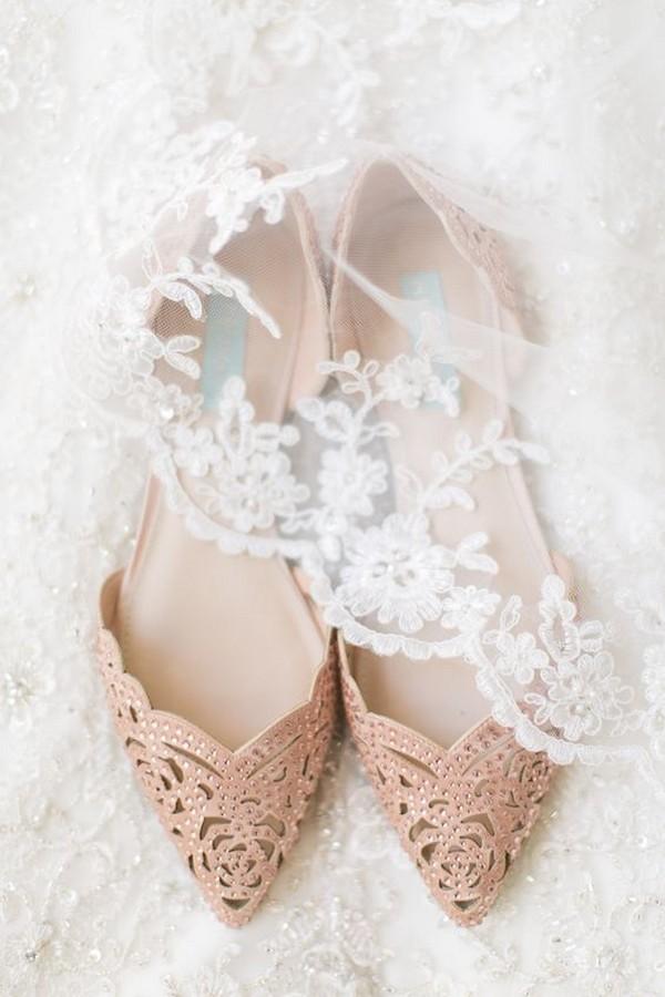 Pointed toe embellished wedding flats
