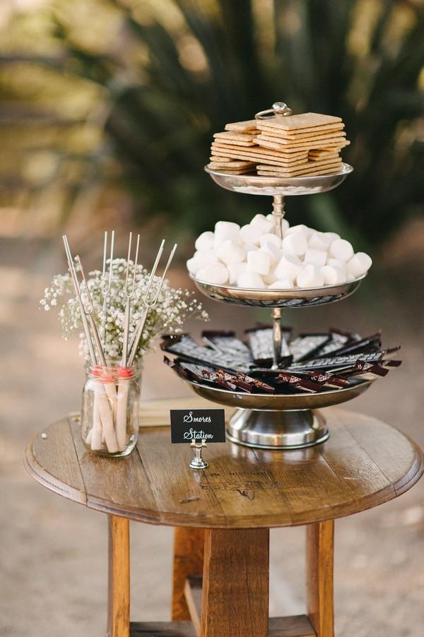 S'mores Bar food station for backyard wedding ideas