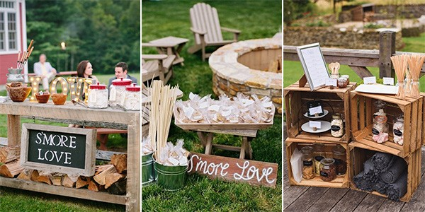 S'mores Bar Wedding Food Station Ideas - via EmmaLovesWeddings
