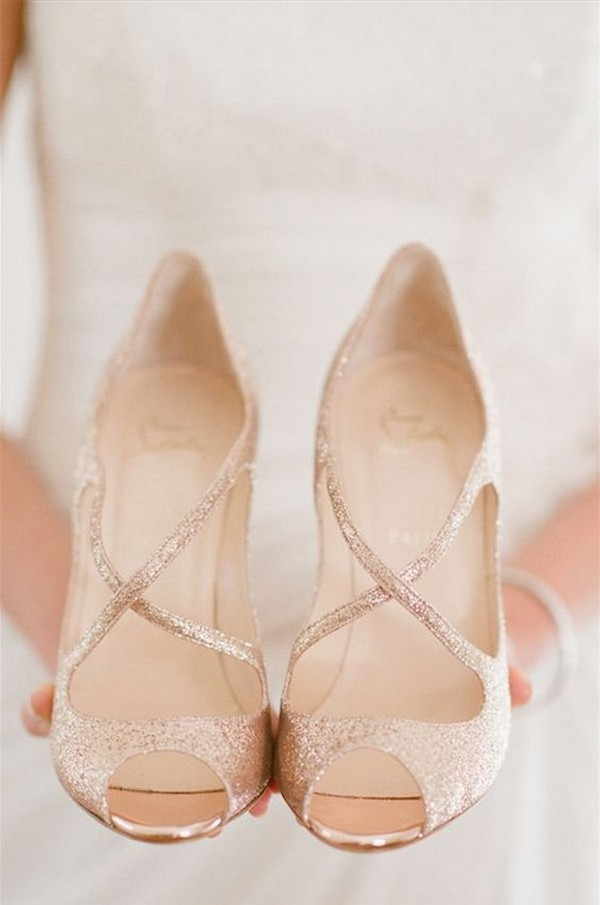 Sparkly rose gold wedding shoes
