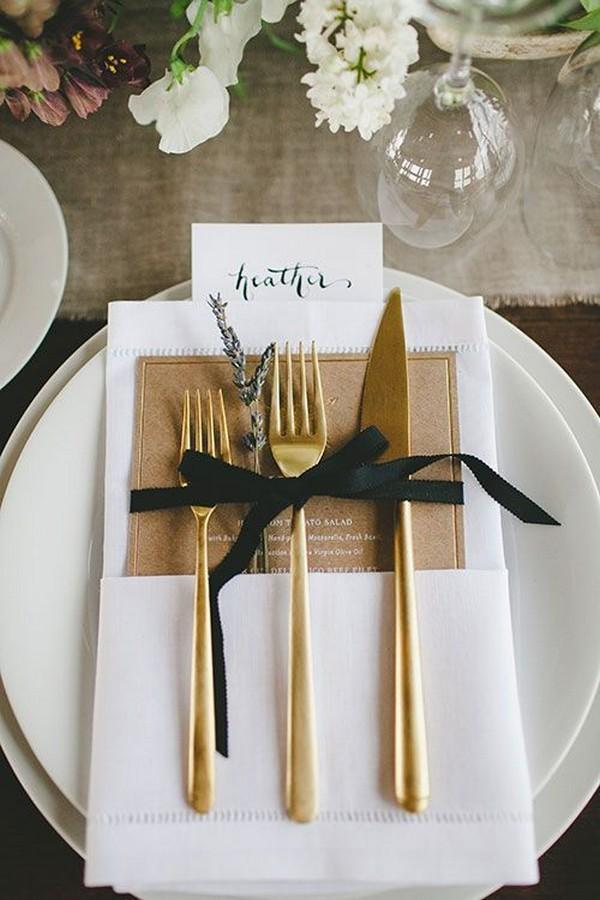 black and gold elegant wedding table setting ideas