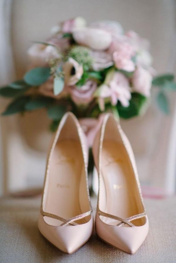 blush Christian Louboutin bridal shoes