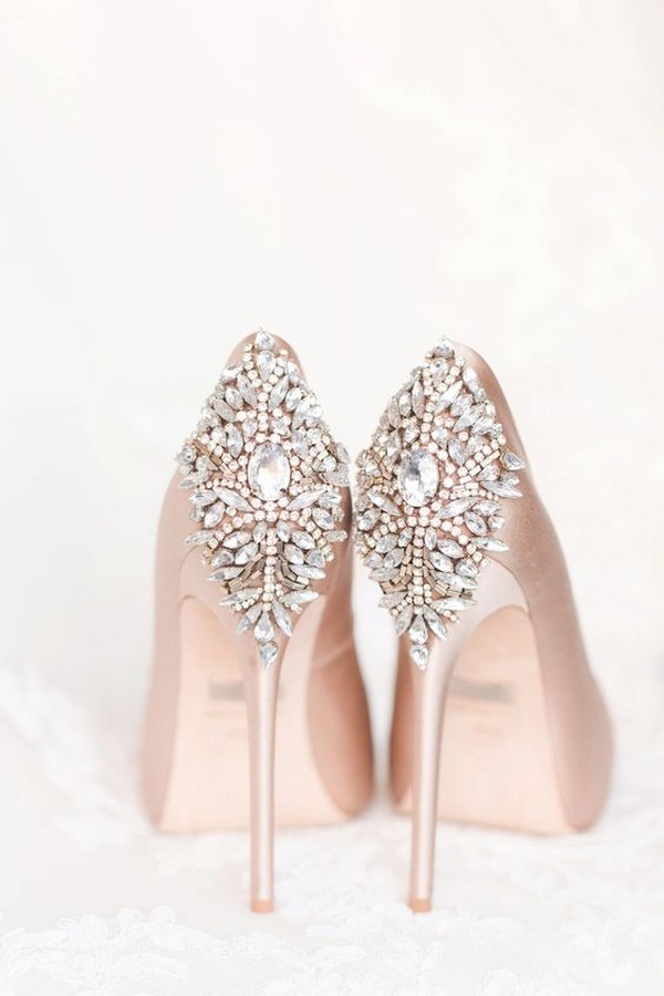blush and silver wedding shoes