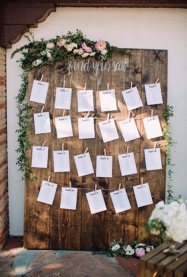chic rustic wedding seating chart ideas
