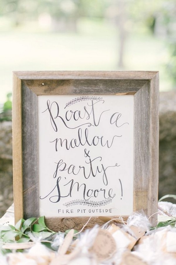 chic wedding s'mores sign ideas