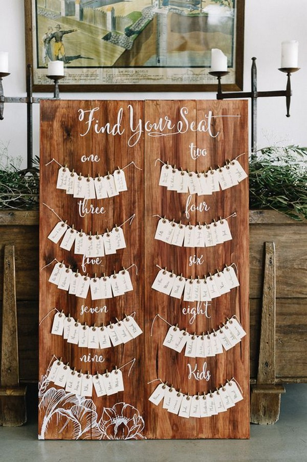 diy rustic wood wedding seating chart ideas - EmmaLovesWeddings