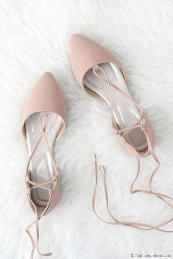 dusty pink strappy lace up wedding flats