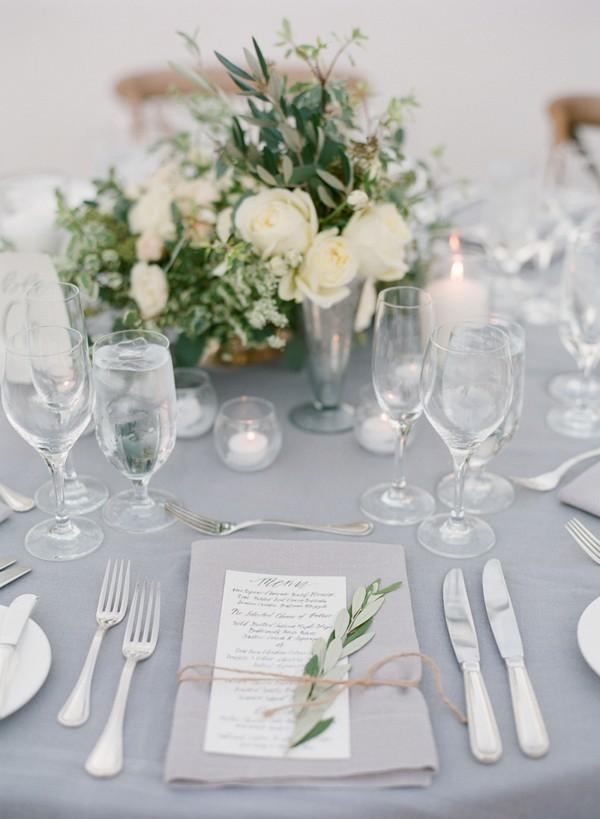 elegant cream and gray wedding table settings