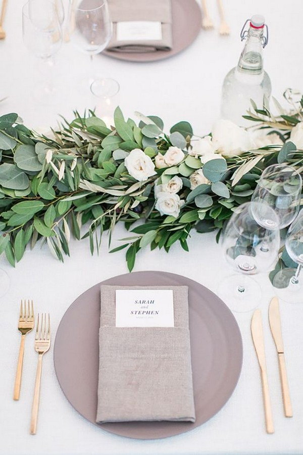 elegant green and gray wedding table decorations