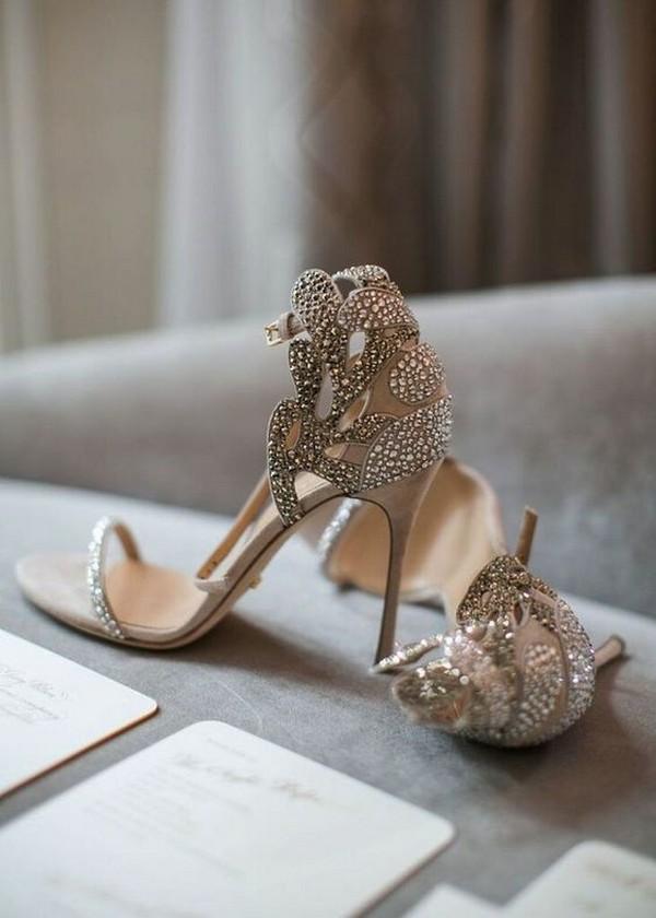 elegant neutral beaded wedding shoes